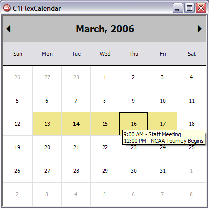 C1FlexCalendar (Montly View)
