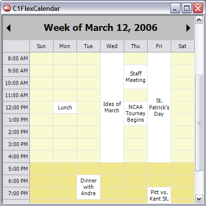 C1FlexCalendar (Weekly View)