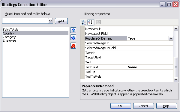 Bindings Collection Editor