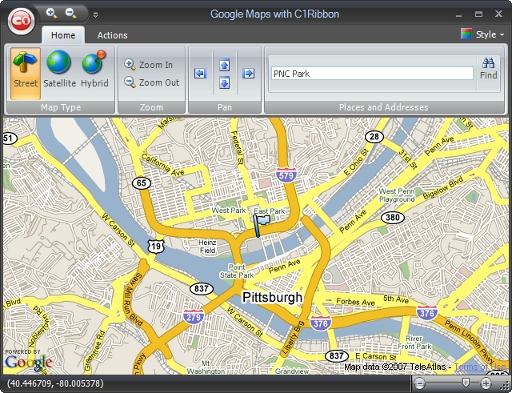 Using C1Ribbon as an Interface to Google Maps on google maps tools, google maps bulletin board, google maps grid, google map of asia pacific, google maps full screen, google maps window,