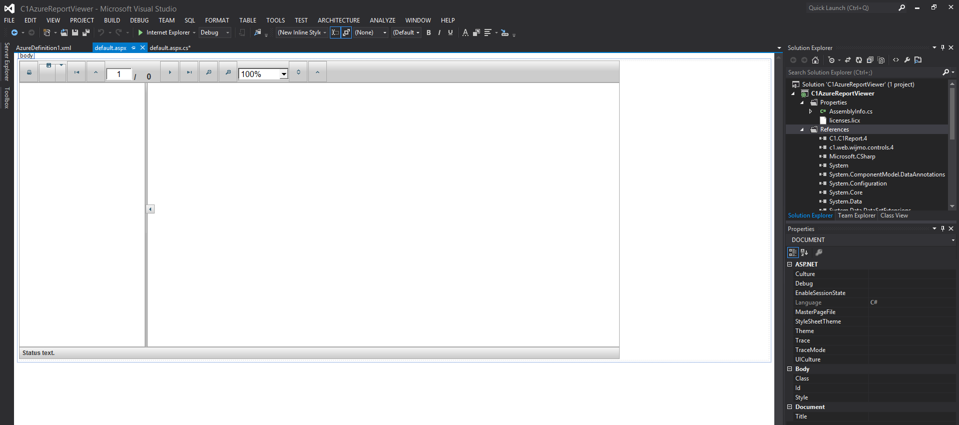 Windows Azure Reporting With C1ReportViewer for ASP NET Wijmo