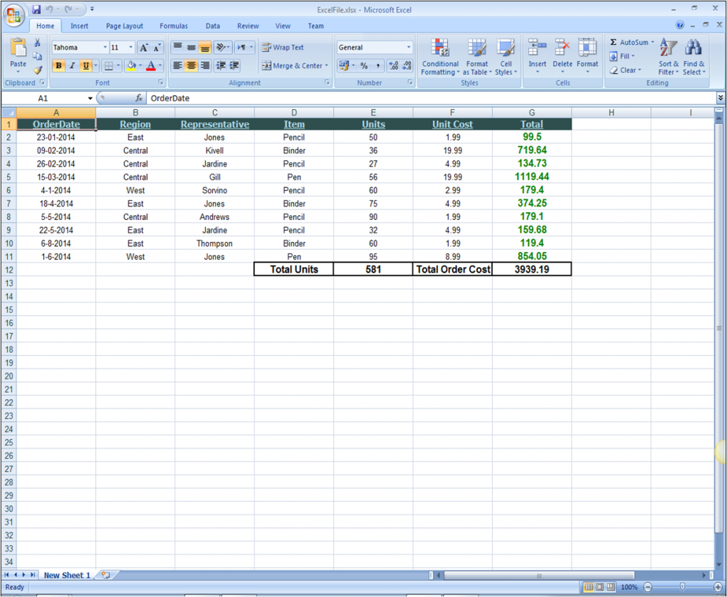 ComponentOne Studio Excel for NET for WinForms Data Summary