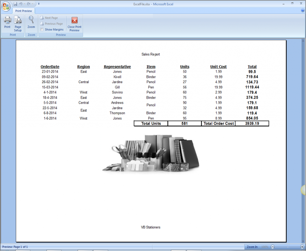 ComponentOne Studio Excel for NET for WinForms PageBreaks