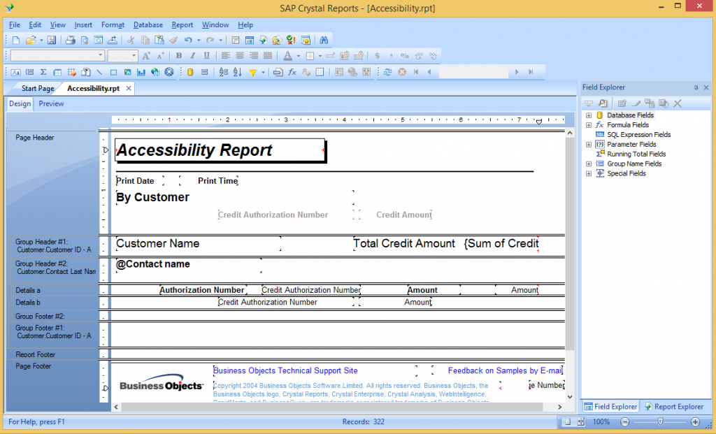 Crystal Report Detail Sections in Designer