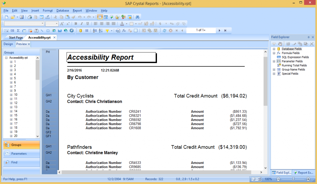 Accessibility report output in Crystal Reports