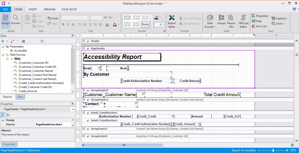 Accessibility Report in FlexReport Designer