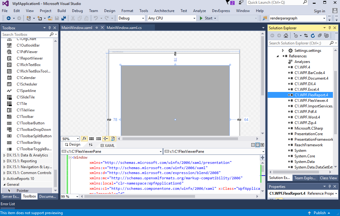 Getting Started with C1Studio's Native WPF Reporting Tool