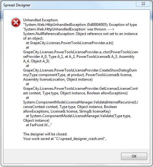 fpSpread Designer (eval version) throwing exception and