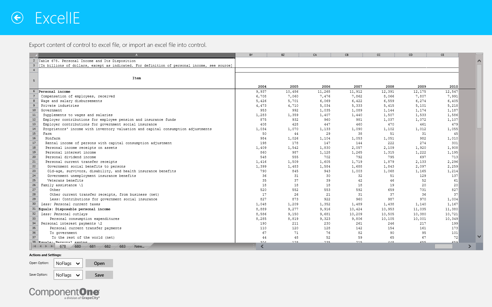 Spread WinRT Control Explorer demo showing an imported Excel workbook