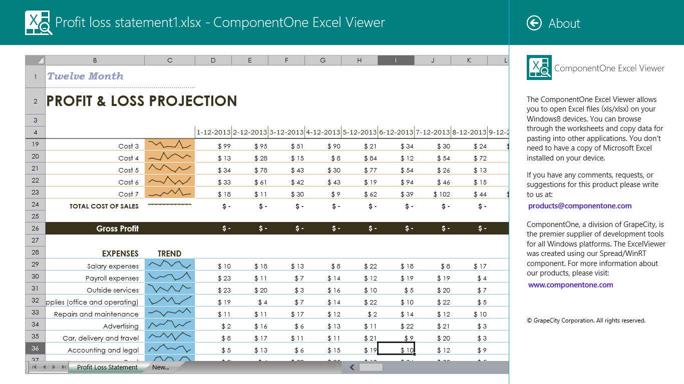 New Release of ComponentOne Excel Viewer