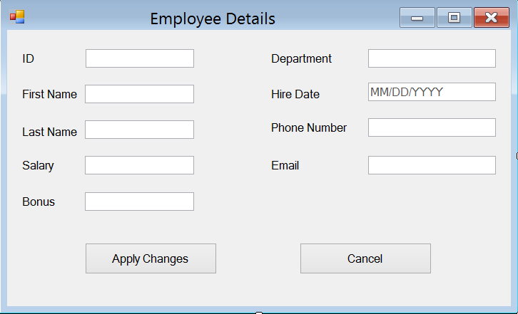 The Employee Details Form.