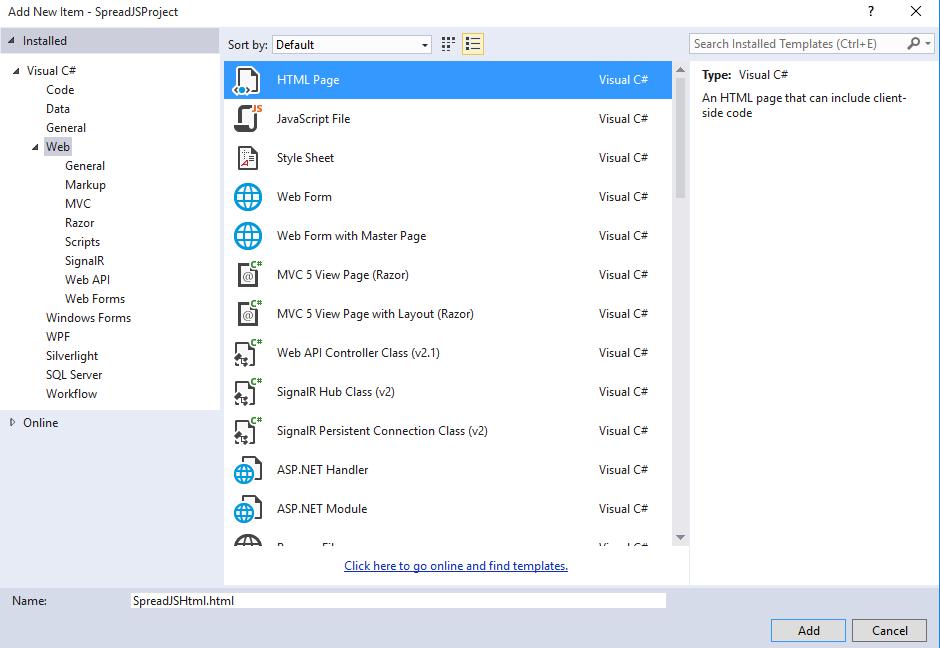 SpreadJS and Visual Studio