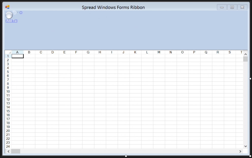 The Windows Forms application with Spread and an empty ribbon on it.