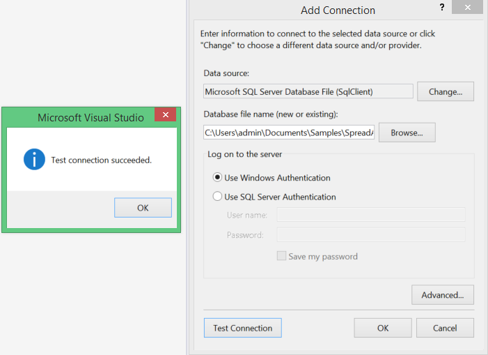 The Add Connection window in Visual Studio 2015