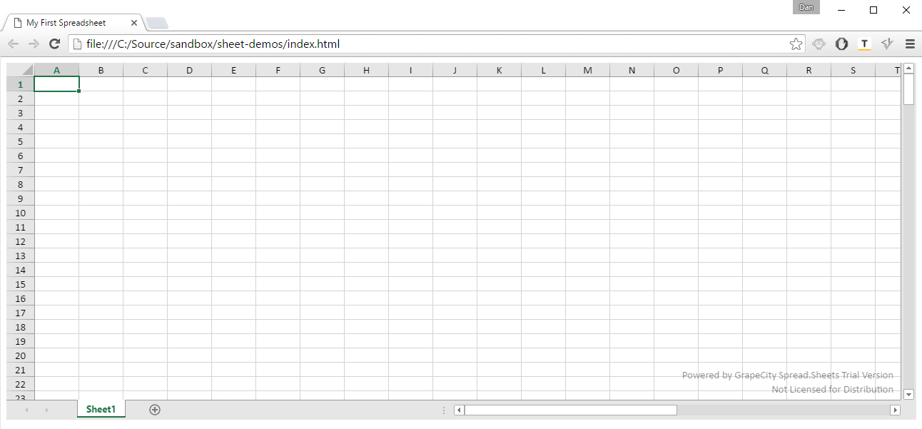 Instance of Spread.Sheets
