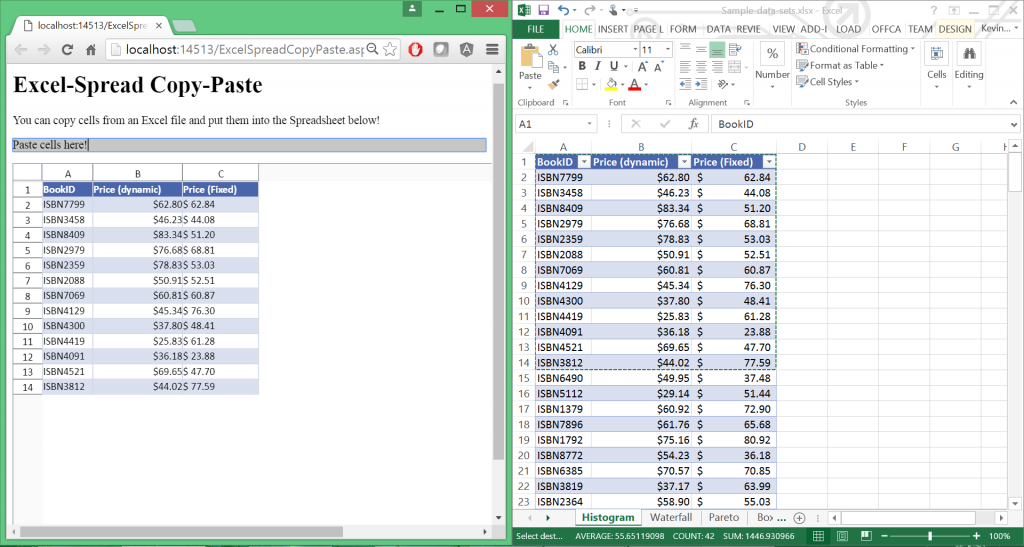 Copying a range of cells from Excel and pasting into Spread ASP