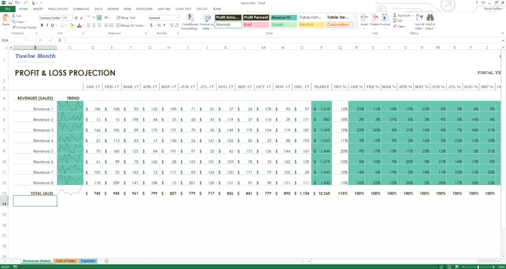 The exported file loaded into Excel
