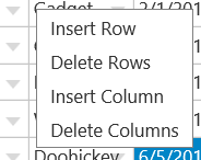 Wijmo FlexSheet Context Menu: Insert or Remove Rows or Columns