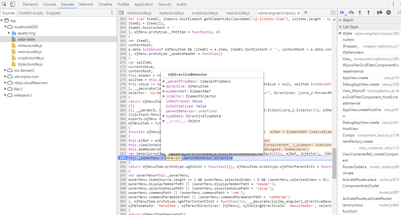 Wijmo 5 Angular 2 - wj-menu issue - Cannot read property '