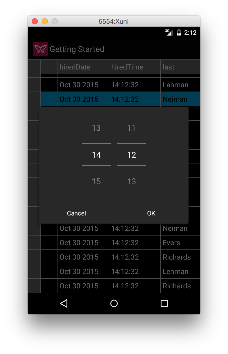 Custom Time Picker in Xuni FlexGrid for Android