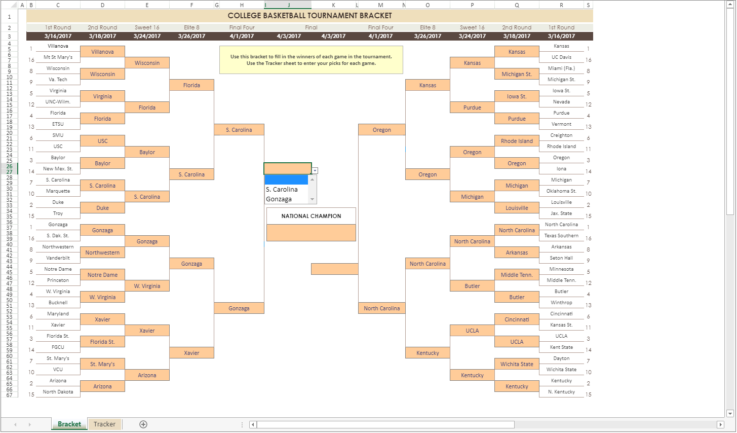 March Madness JavaScript bracket