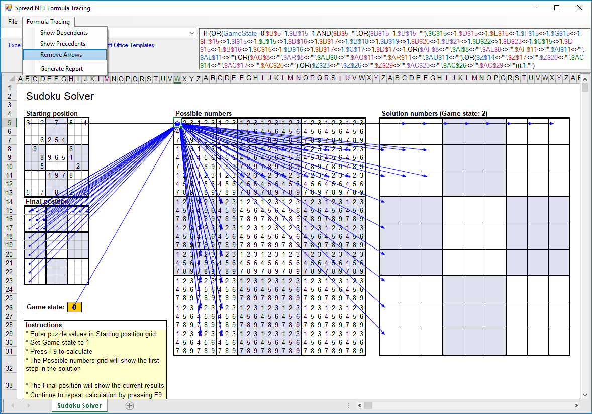 Figure 1 Spread.NET Formula Tracing Sample