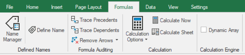New Formulas tab in WinForms Spread Designer Ribbon Bar