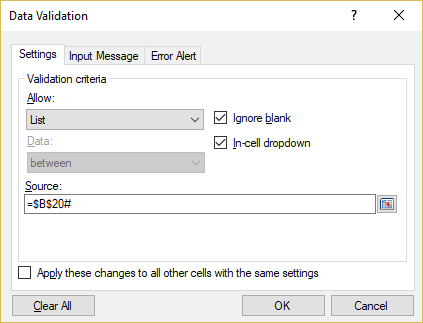 Data Validation list settings for the cell H5