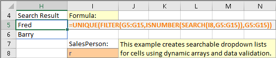 Formula generating list of unique names in SalesPerson containing the value in the cell I8