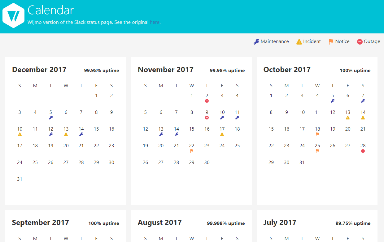 Custom JavaScript Calendar Sample