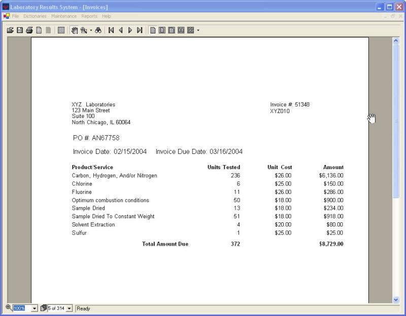 Lab Invoice