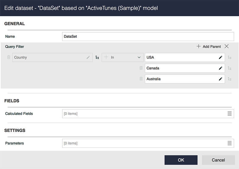 Smart filters added to semantic datasets