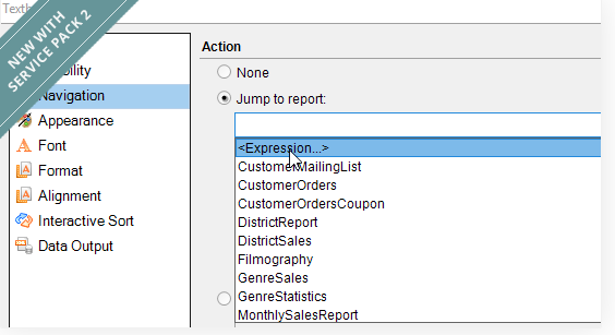Drill Through to Reports Using an Expression