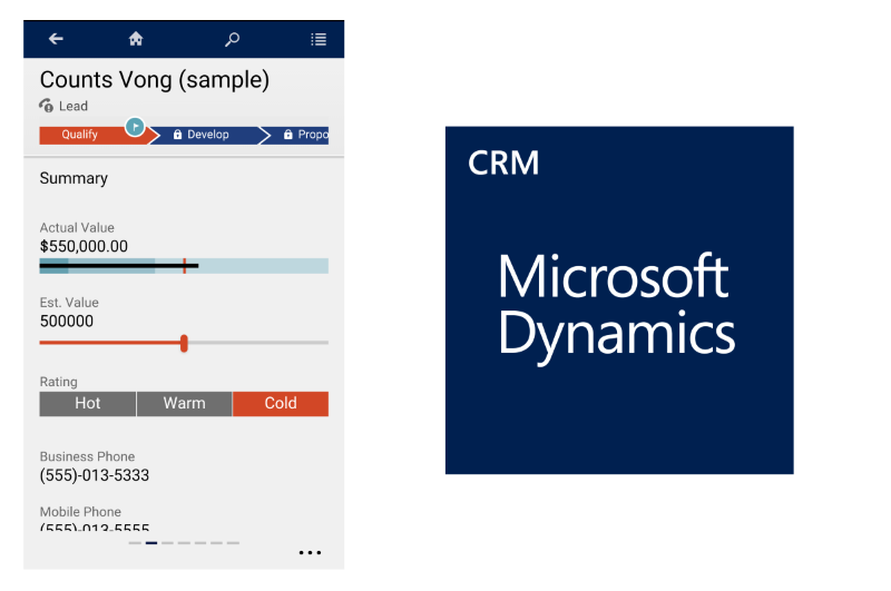 Microsoft Dynamics CRM 2016Mobile Controls Phone