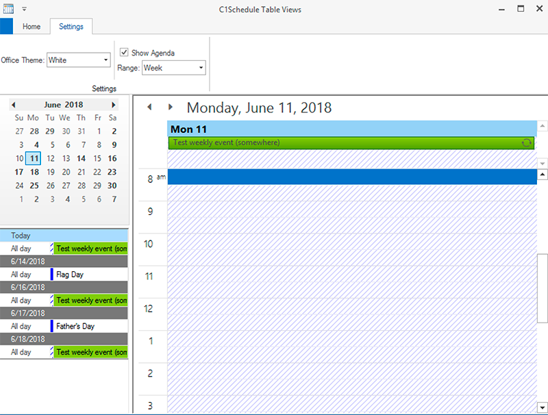 Scheduler agenda view